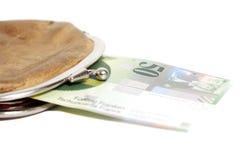 Ελβετικά πενήντα φράγκα στο πορτοφόλι που απομονώνεται στο λευκό Στοκ Εικόνα
