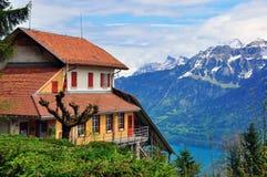Ελβετικά σπίτι και βουνά Στοκ φωτογραφία με δικαίωμα ελεύθερης χρήσης