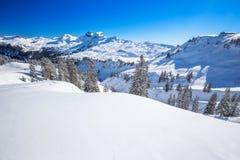 Ελβετικές Άλπεις που καλύπτονται το φρέσκο νέο χιόνι που βλέπει από από το σκι hoch-Ybrig σχετικά με Στοκ Εικόνες