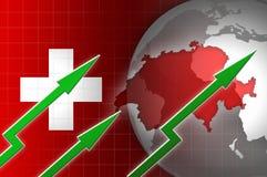 Ελβετική απεικόνιση αύξησης νομίσματος οικονομίας με το πράσινο επάνω βέλος Στοκ Φωτογραφία
