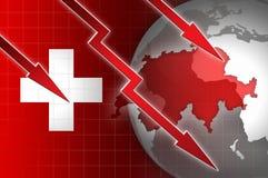 Ελβετική απεικόνιση πτώσης νομίσματος οικονομίας με το κόκκινο κάτω βέλος Στοκ εικόνα με δικαίωμα ελεύθερης χρήσης
