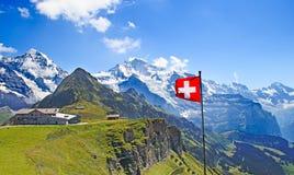 Ελβετική σημαία Στοκ φωτογραφία με δικαίωμα ελεύθερης χρήσης