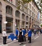 Ελβετικοί συμμετέχοντες παρελάσεων εθνικής μέρας Στοκ φωτογραφία με δικαίωμα ελεύθερης χρήσης