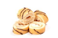 Ελβετικός ρόλος μπισκότων στο λευκό στοκ φωτογραφία με δικαίωμα ελεύθερης χρήσης