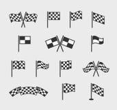 Ελεγμένες διανυσματικές σημαίες Ο κυματισμός αγώνα τελειώνει και αρχίζει το σύνολο σημαιών γραμμών που απομονώνεται στο άσπρο υπό διανυσματική απεικόνιση