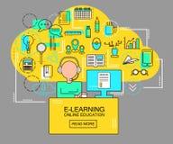 Ε-εκμάθηση και σε απευθείας σύνδεση έννοια εκπαίδευσης με το σπουδαστή με τα εικονίδια υπολογιστών και μελέτης Λεπτή διανυσματική Στοκ φωτογραφίες με δικαίωμα ελεύθερης χρήσης