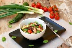 Ελεύθερα τρόφιμα γλουτένης με κόκκινο quinoa, τη λωρίδα κοτόπουλου, την ντομάτα, τα κολοκύθια, την ελιά, τα φύλλα βασιλικού και τ Στοκ φωτογραφία με δικαίωμα ελεύθερης χρήσης
