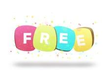 Ελεύθερη λέξη κινούμενων σχεδίων στις χάντρες ή τις ετικέττες - ελεύθερη εγγραφή - ετικέττα εικονιδίων ιστοχώρου προώθησης Στοκ Εικόνες