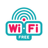 Ελεύθερη ζώνη WI-Fi - διανυσματικό σημάδι λογότυπων Στοκ Εικόνες