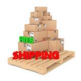 ελεύθερη ναυτιλία έννοιας Κουτιά από χαρτόνι στην ξύλινη παλέτα με FR ελεύθερη απεικόνιση δικαιώματος