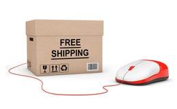 ελεύθερη ναυτιλία έννοιας Στέλνοντας κιβώτιο που συνδέεται ελεύθερο με έναν υπολογιστή Στοκ Εικόνες