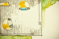 Ελεύθερο σχέδιο σκίτσων μελανιού Watercolor του μερικού σχεδίου ορόφων σπιτιών ως aquarell ζωγραφική παρουσιάζοντας στη βεράντα δ Στοκ Φωτογραφίες