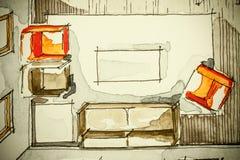 Ελεύθερο σχέδιο σκίτσων μελανιού Watercolor του μερικού σχεδίου ορόφων σπιτιών ως aquarell ζωγραφική παρουσιάζοντας καθιστικό με  Στοκ Εικόνες