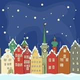 Ελεύθερο σχέδιο των παλαιών ζωηρόχρωμων κτηρίων το χειμώνα Άμστερνταμ ελεύθερη απεικόνιση δικαιώματος