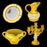 Ελληνικά παλαιά πιάτα και κηροπήγια, τέσσερα στοιχεία απεικόνιση αποθεμάτων