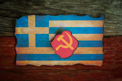 Ελληνική κομμουνιστική έννοια σημαιών στοκ φωτογραφία με δικαίωμα ελεύθερης χρήσης