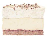 Ελληνική κρέμα, κρέμα & καρύδια επιδορπίων κέικ ενιαίος ελεύθερη απεικόνιση δικαιώματος