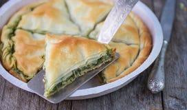 Ελληνική πίτα Spanakopita στοκ εικόνες