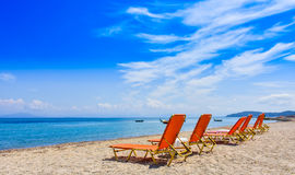 Ελληνική παραλία στο νησί της Κέρκυρας στη Μεσόγειο Στοκ Εικόνες