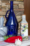Ελληνική φωτογραφία τροφίμων ύφους, ελαιόλαδο, λαχανικά, πιπέρι, κουζίνα eco Στοκ Φωτογραφία