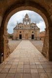 Ελληνικό ορθόδοξο μοναστήρι Arkadi στην Κρήτη Ελλάδα Στοκ Εικόνα