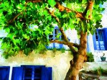 Ελληνικό σπίτι νησιών της Αλοννήσου με ένα μεγάλο δέντρο αφηρημένο ανασκόπησης τέρας φαντασίας σύνθεσης daemon σκοτεινό ψηφιακό π Στοκ Φωτογραφίες
