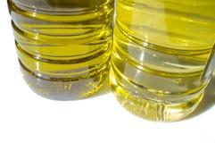 Ελιά εναντίον του ηλιέλαιου που εμφιαλώνεται χαμηλότερη άποψη Στοκ εικόνα με δικαίωμα ελεύθερης χρήσης