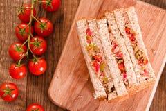 Ελιές τόνου και σάντουιτς ντοματών Στοκ εικόνες με δικαίωμα ελεύθερης χρήσης