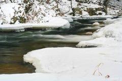 Ελιγμός παγωμένος κολπίσκος το χειμώνα με τον πάγο στοκ φωτογραφίες με δικαίωμα ελεύθερης χρήσης