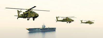 Ελικόπτερα και αεροπλανοφόρο Apache Στοκ Εικόνες