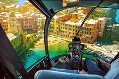 Ελικόπτερο σε Vernazza Στοκ εικόνες με δικαίωμα ελεύθερης χρήσης