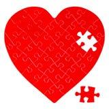 Ελλιπής γρίφος τορνευτικών πριονιών σε μια μορφή μιας καρδιάς στοκ φωτογραφίες με δικαίωμα ελεύθερης χρήσης