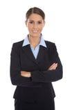 Ελκυστική απομονωμένη χαμογελώντας επιχειρηματίας στο μπλε κοστούμι στοκ εικόνες