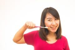 Ελκυστική γυμνή γυναίκα με την οδοντόβουρτσα Στοκ Φωτογραφία