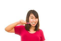 Ελκυστική γυμνή γυναίκα με την οδοντόβουρτσα Στοκ Εικόνες