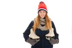 Ελκυστική γυναίκα με τα σαλάχια πάγου στοκ εικόνες