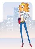 Ελκυστική γυναίκα με τα τζιν μόδας. Διάνυσμα illustr Στοκ φωτογραφίες με δικαίωμα ελεύθερης χρήσης