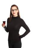 Ελκυστική γυναίκα με το γυαλί κρασιού Στοκ Φωτογραφία