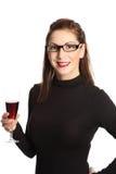 Ελκυστική γυναίκα με το γυαλί κρασιού Στοκ Φωτογραφίες