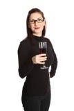 Ελκυστική γυναίκα με το γυαλί κρασιού Στοκ Εικόνες