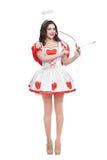 Ελκυστική γυναίκα cupid με το τόξο και το βέλος έτοιμα στοκ εικόνες