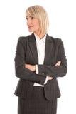 Ελκυστική μέση ηλικίας επιχειρηματίας που κοιτάζει λοξά στο κείμενο Στοκ εικόνες με δικαίωμα ελεύθερης χρήσης