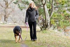 Γυναίκα που περπατά το σκυλί στοκ εικόνα