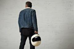 Ελκυστικός ποδηλάτης μηχανών στο κενό σύνολο προτύπων σακακιών Στοκ εικόνες με δικαίωμα ελεύθερης χρήσης