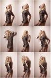 Ελκυστικός προκλητικός ξανθός στη ζωική τοποθέτηση φορεμάτων τυπωμένων υλών σφιχτά κατάλληλη σύντομη provocatively εσωτερική Πορτ στοκ εικόνες