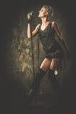 Ελκυστικός τραγουδιστής steampunk Στοκ Φωτογραφία