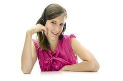Ελκυστικός υπάλληλος τηλεφωνικών κέντρων θηλυκών Στοκ Εικόνες