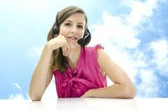 Ελκυστικός υπάλληλος τηλεφωνικών κέντρων Στοκ Εικόνα