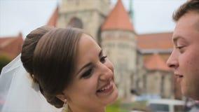 Ελκυστικό ζεύγος που ανταλλάσσει ένα φιλί απόθεμα βίντεο