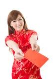 Κόκκινη κινεζική γυναίκα φακέλων Στοκ Φωτογραφία